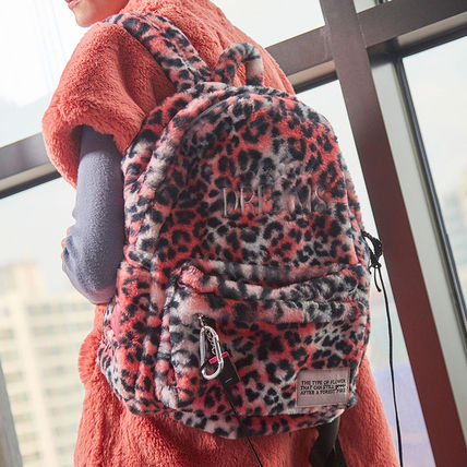 Leopard Patterns Casual Style Faux Fur Street Style A4