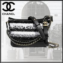 CHANEL Calfskin Studded Bi-color Chain Plain With Jewels