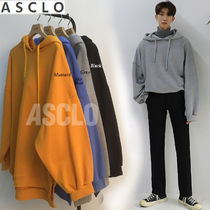 ASCLO Street Style Collaboration Long Sleeves Plain Cotton Hoodies