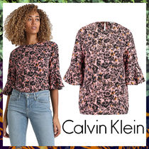 Calvin Klein Crew Neck Flower Patterns Casual Style Cropped Medium