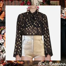 Dolce & Gabbana Dots Silk Long Sleeves Medium Elegant Style Shirts & Blouses