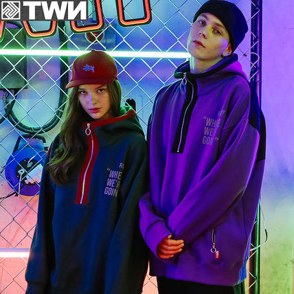 TWN Hoodies Pullovers Unisex Street Style Long Sleeves Cotton Oversized