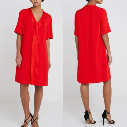 V-Neck Long Sleeves Plain Medium Dresses