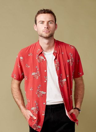 Tropical Patterns Street Style Short Sleeves Handmade Logo