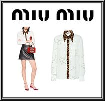 MiuMiu Flower Patterns Leopard Patterns Casual Style Long Sleeves