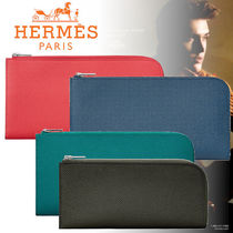 HERMES Calfskin Plain Long Wallets