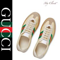 GUCCI Stripes Street Style Leather Oversized Sneakers