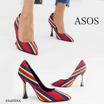 ASOS Stripes Square Toe Casual Style Blended Fabrics Street Style