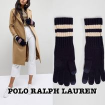 POLO RALPH LAUREN Stripes Wool Street Style Plain Smartphone Use Gloves