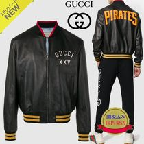 GUCCI Short Collaboration Plain Leather Varsity Jackets