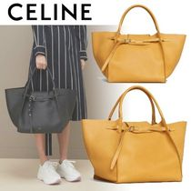 CELINE A4 Plain Leather Elegant Style Totes