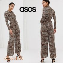 ASOS Dungarees Leopard Patterns Long Sleeves Long Dresses