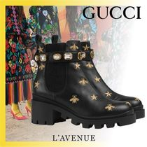 GUCCI Star Platform Leather Elegant Style Ankle & Booties Boots
