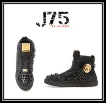 J75 by JUMP Blended Fabrics Studded Street Style Plain Sneakers