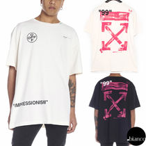 Off-White Crew Neck Unisex Street Style Cotton Short Sleeves