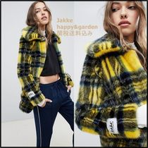 Other Check Patterns Casual Style Faux Fur Coats