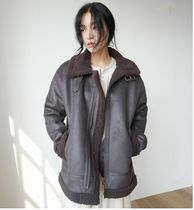 DAILYMONDAY Faux Fur Plain Medium Fur Leather Jackets Oversized