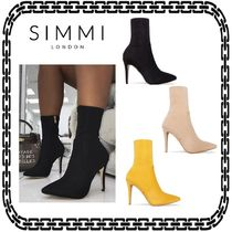 SIMMI Casual Style Street Style Pin Heels Ankle & Booties Boots