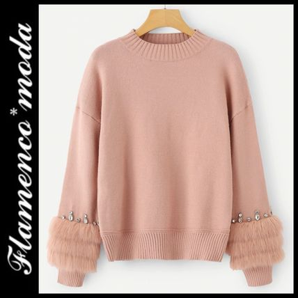 More Knitwear Crew Neck Cable Knit Casual Style Long Sleeves Plain Medium