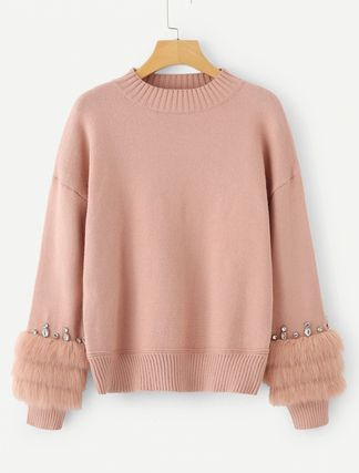 More Knitwear Crew Neck Cable Knit Casual Style Long Sleeves Plain Medium 2