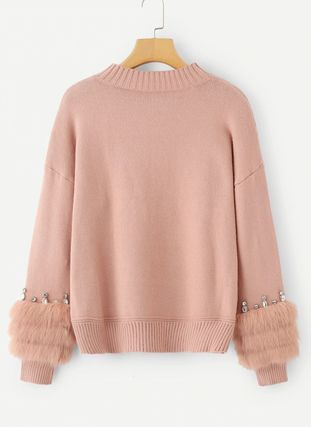 More Knitwear Crew Neck Cable Knit Casual Style Long Sleeves Plain Medium 3