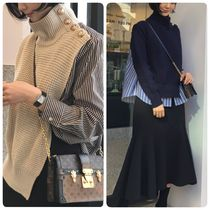 Casual Style Bi-color Long Sleeves Shirts & Blouses
