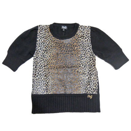 Crew Neck Short Leopard Patterns Casual Style Cashmere Rib