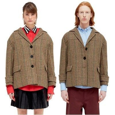 Short Other Check Patterns Wool Oversized Jackets
