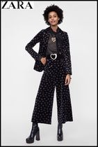 ZARA Flower Patterns Velvet Elegant Style Culottes & Gaucho Pants