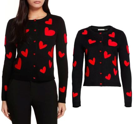 Heart Casual Style Long Sleeves Cotton Medium Cardigans