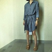 Stripes Casual Style Long Sleeves Cotton Long Midi Gowns
