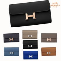 HERMES CONSTANCE Calfskin Plain Long Wallets
