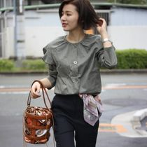 Lace-up Casual Style Puffed Sleeves Plain Cotton Medium