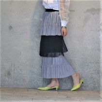 Stripes Flower Patterns Casual Style Pleated Skirts Cotton