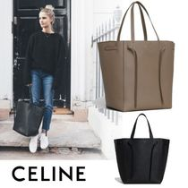 CELINE Cabas A4 Plain Leather Elegant Style Totes