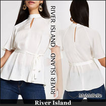 River Island Casual Style Medium High-Neck Puff Sleeves Shirts & Blouses