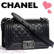 CHANEL Casual Style Unisex Calfskin 2WAY Plain Shoulder Bags