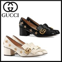 GUCCI Plain Block Heels Fringes Block Heel Pumps & Mules