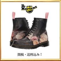 Dr Martens Flower Patterns Casual Style Plain Boots Boots