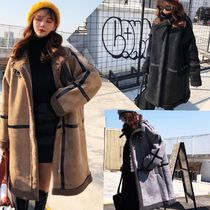 Casual Style Faux Fur Medium Fur Leather Jackets Oversized
