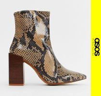 ASOS Casual Style Leather Python Ankle & Booties Boots