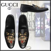 GUCCI Plain Toe Loafers Plain Other Animal Patterns Leather
