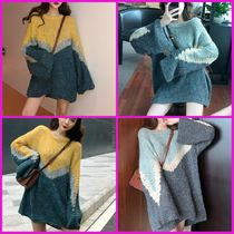 Cable Knit Casual Style Bi-color Long Sleeves Medium
