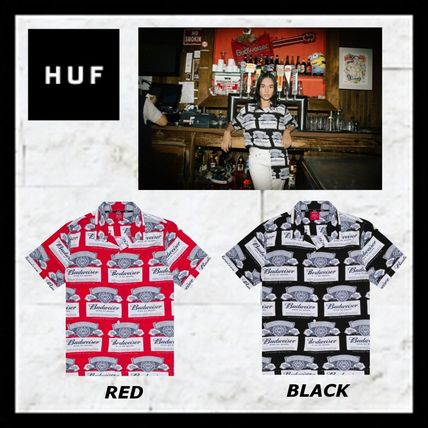 HUF Shirts Unisex Street Style Collaboration Short Sleeves Oversized