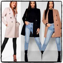 boohoo Plain Medium Elegant Style Chester Coats