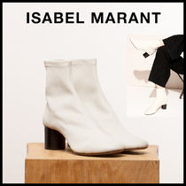 Isabel Marant Round Toe Blended Fabrics Plain Leather Block Heels