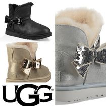 UGG Australia CLASSIC MINI Round Toe Casual Style Sheepskin Plain Ankle & Booties Boots