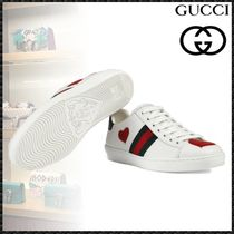 GUCCI Ace Heart Round Toe Rubber Sole Casual Style Leather