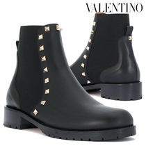 VALENTINO Round Toe Plain Leather Block Heels Chelsea Boots