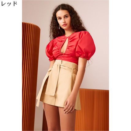 Short Plain Elegant Style Puff Sleeves Cropped